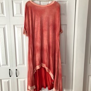 Anthropologie Red Burnout Tee Dress sz XS/S